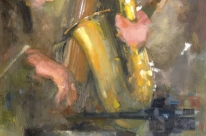 Musical Inspiration,  F. Vozelj, Slovenia, 100x40cm, Oil on canvas, 2013
